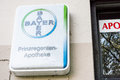 Bayer sign infront of a german pharmacy Stock Image