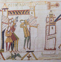 Bayeux tapestry detail of the depicting the appearance of comet halley before the norman invasion of england in the th century Stock Photo