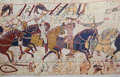 Bayeux tapestry detail of the depicting the norman invasion of england in the th century Stock Image