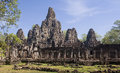 Bayon in center angkor wat cambodgia temple Stock Images