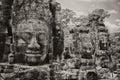 Bayon faces angkor thom byon temple and stone Stock Image