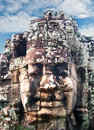 The Bayon Khmer temple at Angkor in Cambodia. Stock Photography