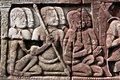 Bayon Temple Bas Relief of Khmer Warriors  Royalty Free Stock Images
