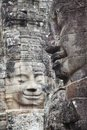Bayon temple faces in angkor cambodia carved stone thom was built late th century under king jayavarman vii Stock Images