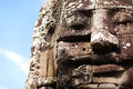 Bayon temple stone face detail, Angkor, Cambodia Royalty Free Stock Images