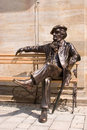 Bayreuth is celebrating richard wagner jubilee sculpture of sitting in on a bench in the city of upper franconia on may the great Royalty Free Stock Images