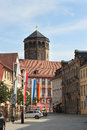Bayreuth germany bavaria orthogonal church tower view along kanzlei street towards the of the old palace altes schloss in the Stock Photos