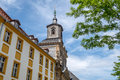 Bayreuth old town church steeple the of the spitalkirche in is a in upper franconia northern bavaria germany on the red Royalty Free Stock Photography