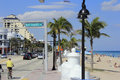 Bayshore drive at state road a a fort lauderdale florida march travelers driving biking on and walking the sidewalk while many Stock Photo