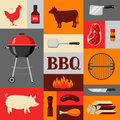 Bbq background with grill objects and icons