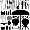 BBQ Barbecue Set Silhouette Vector Stock Photography