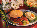 BBQ beef dinner with flower Royalty Free Stock Photo