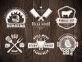 BBQ, burger, grill badges.