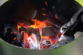 Bbq charcoal fire glowing with heat Stock Images
