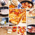 Bbq chicken tomato pizza picture collage of homemade a Stock Images