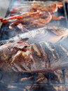 Bbq cooking fish Royalty Free Stock Photos
