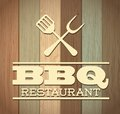 Bbq design over wooden background vector illustration Stock Photos