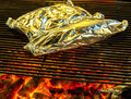 BBQ fire iron grill Royalty Free Stock Photo