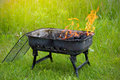 Bbq fire outdoor in the grill Royalty Free Stock Photo