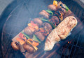 BBQ Fish Overhead View 2 Stock Photography