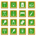 BBQ food icons set green