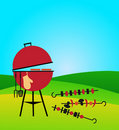 Bbq on green meadow Royalty Free Stock Photo