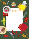 Bbq greeting card with objects for picnic Stock Images
