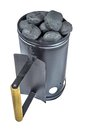 BBQ Grill Coals Flame Starter With  Charcoal Briquettes Isolated Royalty Free Stock Photo