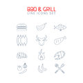 Bbq and grill line icons set