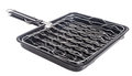 Bbq grill pan barbecue grill camping basket on background Stock Images