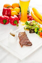 BBQ grilled rib eye ,ribeye steak and vegetables Royalty Free Stock Image