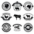 Bbq labels set of nine with animals silhouettes Stock Image