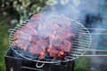 Bbq lamb chops on grill Stock Photo