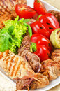 Bbq meat vegetables greens closeup Royalty Free Stock Photography