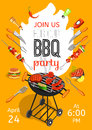 Bbq party announcement flat poster season opening with barbecue accessories event date and time abstract vector illustration Royalty Free Stock Photo
