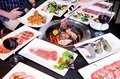 Bbq party beef and seafood Royalty Free Stock Photo