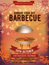 BBQ party invitation template on autumn yellow. Summer or fall Barbecue weekend flyer.