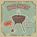 Bbq party vintage poster with bbq grill on the grunge background. Retro hand drawn vector illustration Royalty Free Stock Photo