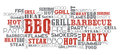 Bbq related word cloud vector orange and grey one layer eps text is outlined Royalty Free Stock Image