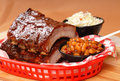 BBQ Ribs with beans and cole slaw Royalty Free Stock Photography