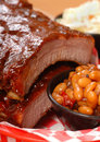 BBQ Ribs with beans and cole slaw Royalty Free Stock Photo