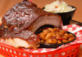 BBQ Ribs with beans and cole slaw Stock Images