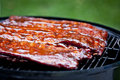 Bbq ribs st louis style glazed in sauce Stock Photography
