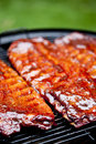 Bbq ribs st louis style glazed in sauce Stock Photo
