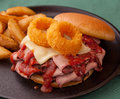 BBQ sandwich with onion rings Royalty Free Stock Photo