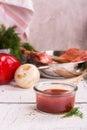 Bbq sauce in a glass jar selective focus Stock Image