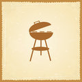Bbq silhouette of on grunge background Stock Photo