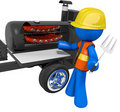BBQ Smoker Mobile Grill Contractor on Break Stock Photos
