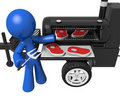 BBQ Smoker Mobile Grill Man Preparing Steaks Royalty Free Stock Photo