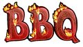 Bbq text burning charcoal design with the realistic burning effect with fire flames Stock Image